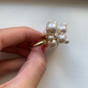 Swarovski Jewelry - Gold, crystal & pearl cluster chunky bow ring